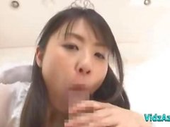 Asian Teen In Angel Costume Giving Blowjob And Handjob Cum To Hand On The Bed
