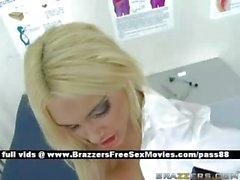 Young blonde doctor on the hospital bed gets her pussy licked