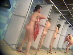 Real public showers with hidden cam set inside