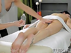 Slender attractive nymph and wicked massage