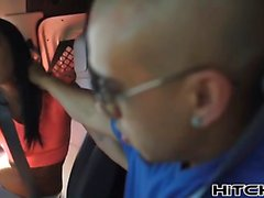 Bald hunk makes teen Sabrina Banks pay for the ride
