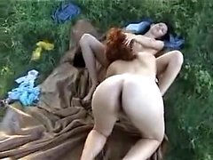 Pair of lesbian GFs share one big cock in a threesome
