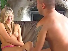 Sweet blonde in pigtails nailed for first time