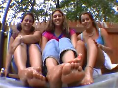 Lexi, Leah & Rebecca show their dirty feet oiled