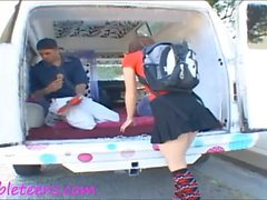 ice cream truck teen schoolgirl in knee high socks gets half creampie filling