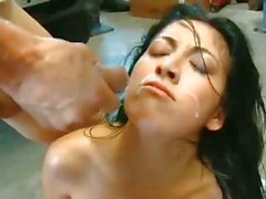 Teen Kimberly Gates fucked like a dog with a huge bone on the floor