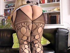 Stockings teen mouth jizz