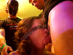 Blindfolded on her knees sucking and Fucking gangbang