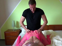 Teen in pink stocking fucks with german friend homemade