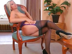 nice germanian blonde in livingroom