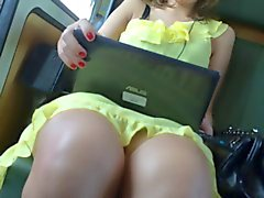 Upskirt Train Yellow Dress 1