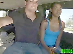 Petite Ebony Girl Tugs on a Cock on the Hump Bus