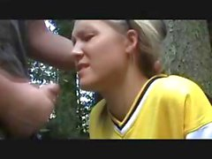 Young blonde is stuck at a cabin and fucked outdoors by her captor for a creampie