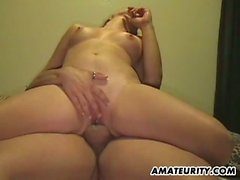 Voluptuous girlfriend cumming hard on lover's cock