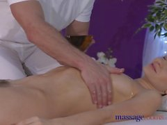 Massage Rooms Petite model with hairy pussy has intense multiple orgasms