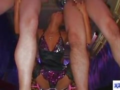 Hot Tanned Stripper In Sexy Dress Giving Blowjob For 2 Guys Cum To Hands In