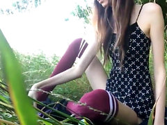 Cute Skinny Girl Bates Her Tiny Pussy Outdoor