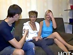 Blonde Russian teen helps out with the bills