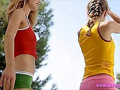 Two glamour teens Virginie and Alyssa A dancing in siesta