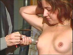 Naughty young chick is in BDSM training and seems to be enjoying it