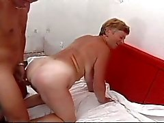 Grandma feeling like a total whore for this young big dick fucker