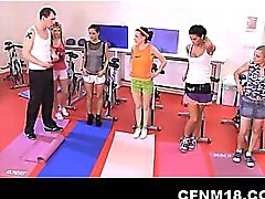 Fully dressed girls get angry during work-out and fuck