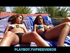 Rich brunette teens play around by the pool