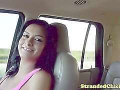 Hitchhiking exotic teen grabs guys cock