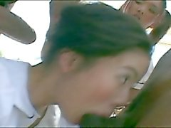 Sizzling hot interracial foursome trouble outdoors with hot asians