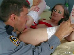 Nasty nurse Hailey Young in red and white gets nailed
