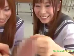 2 Schoolgirls Giving Blowjob And Handjob For Schoolguy Facial In The Classroo