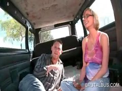 Amateur teen girl talked into fucking in bus